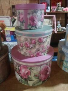 LOT OF 2 SETS OF  VINTAGE LOOK NESTING HAT BOXES 3PC SET VICTORIAN PINK ROSES