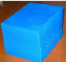 Set of 10 Empty, Blue, Blu-ray DVD Replacement Cases w/ Wrap-Around Sleeves
