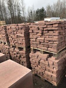 Trockenmauer Sandstein ROT Bruchstein Brocken Gartenmauer Ruinenmauer Naturstein