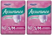 Assurance Incontinence Underwear Women Absorb Protective Max S/M 60 Ct (2 Packs)