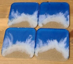 Custom Epoxy Ocean Waves Coasters - Set of 4