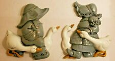 Burwood Homco Home Interiors Blue Boy & Girl With Duck / Geese Wall Decor