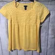 New Directions Petite Womens Top Yellow Size Small Baby Doll Ruching