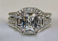 3.10Ct Radiant Cut Engagement Ring with 2 Matching Bands in 14K White Gold