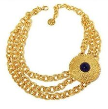 "Ben Amun Goldtone 3Row Link w/Round Disc Blue Station 16"" Necklace w/3"" Extender"
