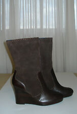 Women's TOMMY HILFIGER Brown Leather Mid-Calf Wedge Heel Shoes Boots Size 8M