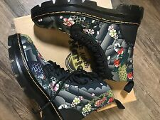 Dr. Martens Grey Black Combs Tattoo Floral T Canvas Rubbery Women's Size US 7