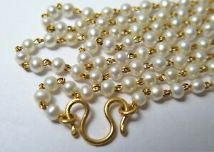 "22ct 916 Gold  Necklace with Pearls 26.5"" / 67.31cm Custom Made"