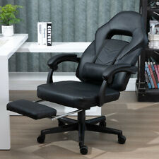Hight Adjustable Gaming Office Ergonomic Computer Chair W/ Padded Footrest Black