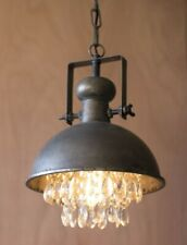 Metal Dome Pendant Light With Hanging Gems Crystals Rustic Industrial Modern