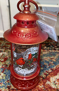 NEW Cardinal Birds Lighted Water Red Lantern Snow Globe Watch it Swirl Glitter