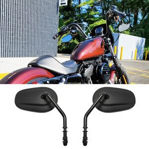 Motorcycle Mirrors Black For Harley Davidson Iron XL1200 XL883N Bobber Chopper