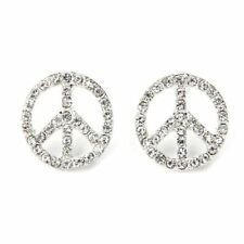 """Silver Plated Crystal Peace Sign Stud Earrings 0.71"""" HOT"""