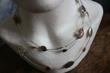 "Pretty Silver & Copper Bead Necklace on wire chain 20"" Long"
