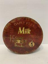 Distressed Vintage Look Metal Dairy Fresh Milk Cow Milk Maid Round Metal Tin