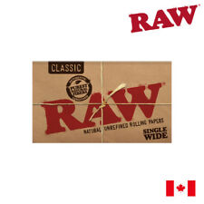 RAW Classic Single Wide Natural Unrefined Rolling Papers (Double Window) 4 Packs