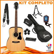 KIT Completo Chitarra acustica IBANEZ 6 corde set custodia accordatore tracolla.