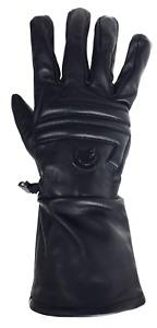 Motorcycle Full Gauntlet Gloves Black Brown Premium Leather Summer Lined Men's