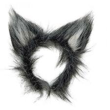 Nueva gris suave y esponjosa desaliñado Peluche Wolf Orejas Animal Fancy Dress Costume Accesorio