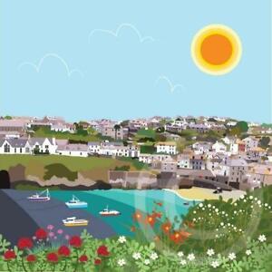 Port Isaac Cornwall Coastal Art Card Print Mug Coaster Placemat Mousemat Gifts