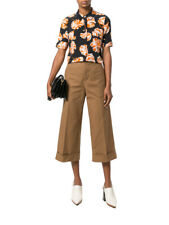 Marni Women's Tailored Brown Culotte High Rise Cropped Pants Trousers 40