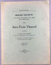 1916 FRENCH LANGUAGE AVIATION DOCUMENT AERO FREIN VITANVAL LEON LOUIS LAFORGE