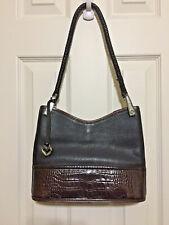 Brighton Black & Brown Leather Shoulder Bag Purse Zipper Vintage