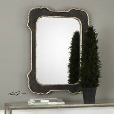 """Vintage French Xl 42"""" Solid Wood Frame Aged Old World Wall Vanity Mirror"""