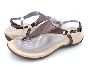Vionic Womens 7.5W Bronze Kirra Metallic Leather T Strap Buckle Thong Sandals
