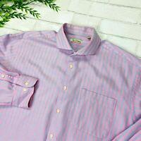 Peter Millar Pink Blue Stripe Long Sleeve Button Shirt Mens L
