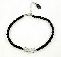 King Baby Studio Sterling Silver Faceted Onyx Bead Choker with CZ Pace Bow