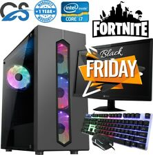 Fast Gaming PC Computer Bundle Intel Quad Core i7 16GB 1TB Win10 4GB GTX1050Ti