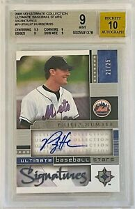 PHILIP HUMBER AUTO #/d /25 2005 UD ULTIMATE CARD AUTOGRAPH BECKETT GRADED 9 METS