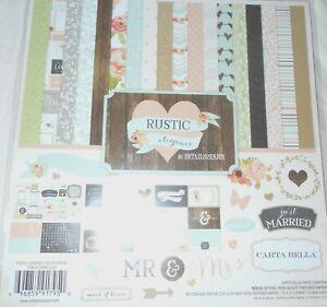 "Wedding Love Forever Rustic Elegance Flower Carta Bella Scrapbook Page Kit 12"""