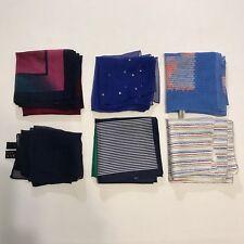 "6 Scarves Square 21"" Poly Retro Prints Stripes Bright Colors Sheer Vtg Scarf Lot"