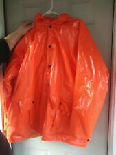 Duck Bay Mens Heavy PVC Raincoat Size  XXL Orange Lined Hooded Jacket