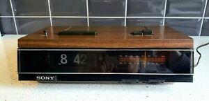 Vintage Sony TFM-C580W Flip Clock Alarm Radio Wood Grain TESTED WORKS EXCELLENT