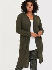 Torrid Super Soft Plush Olive Green Longline Cardigan - Size 3