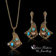Simulated Opal Copper  Vintage Fan Set Fashion Jewellery