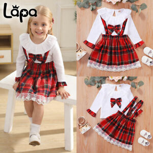 Lapa Kleinkind Kinder Baby Mädchen Kleid Kleidung Tops Rock Weihnachten Outfits