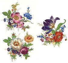 3 Meissen Wild Flower Bouquets Select-A-Size Waterslide Ceramic Decals 272 Bx