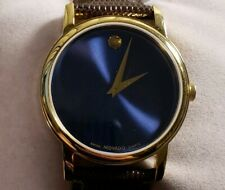 MOVADO MUSEUM CLASSIC 2100013 WATCH WITH 39MM BLUE FACE & BROWN LEATHER BAND