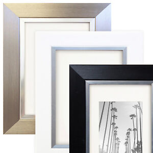 Contemporary Photo Picture Frame Black White Silver Edge Modern Wall Mounted UK