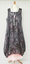 LAGENLOOK LINEN AMAZING FLORAL 2 POCKETS  DRESS**CHARCOAL** XL-XXL BUST 52-54""