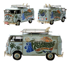 1966 tin plate model Kombi Camper Van in blue with surf dude detail surfboards
