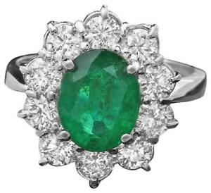 3.65Ct Natural Emerald & Diamond 14K Solid White Gold Ring