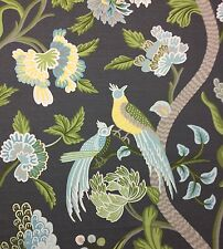 "THIBAUT JANTA BAZAAR CHARCOAL GRAY BIRDS LINEN EXCLUSIVE FABRIC BY THE YARD 54""W"