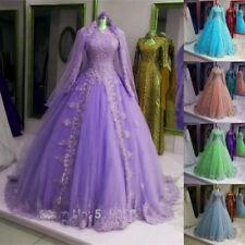 Muslim Vintage Lace Wedding Dresses Long Sleeves Ball Gown Bridal Gown Custom