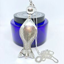 Large Silver Fish Pendant on Long Sterling Silver Ball Chain Statement Necklace