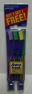 Vintage, New AQUAFRESH Flex Kids 3 Toothbrushes in pack Girls Boys Special Value